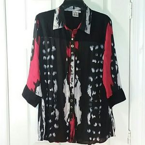 Pasley and Sage Button-Up Burnout Top Size Large